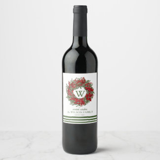 Elegant Monogram Wreath Holiday Wine Labels