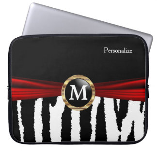 Elegant Monogram Zebra Animal Stripes Laptop Computer Sleeve