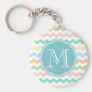 Elegant monograma blue with waves of colors basic round button key ring