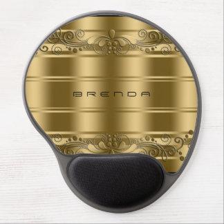 Elegant Monogramed Gold Swirls And Gold Stripes Gel Mouse Pad