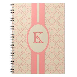 Elegant Monogrammed Coral Notebook