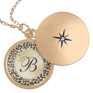 Elegant Monogrammed Leopard Fancy and Girly Locket Necklace