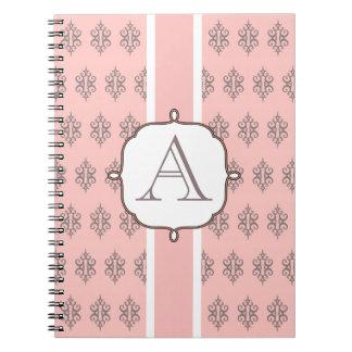 Elegant Monogrammed Pink Notebook