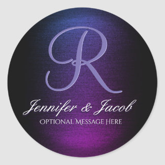 Elegant Monogrammed Purple and Black Classic Round Sticker