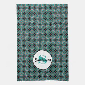 Elegant Moroccan w/Name & Monogram Tea Towel