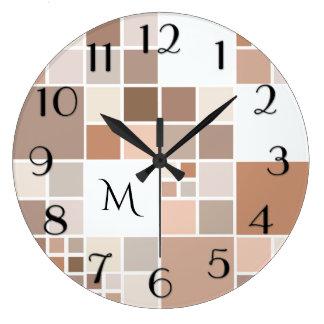 Elegant Mosaic Monogram Wall Clock