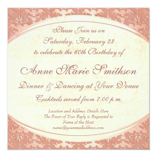 """Elegant Mother's 60th Birthday Vintage Party 5.25"""" Square Invitation Card"""