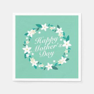 Elegant Mother's Day Floral Wreath | Napkin Paper Napkin