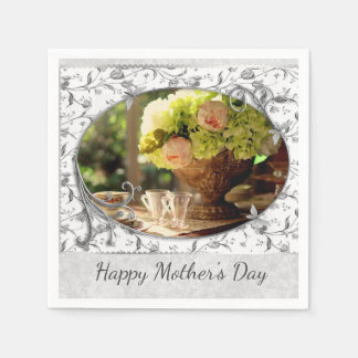 Elegant Mother's Day Gray Floral Paper Napkin