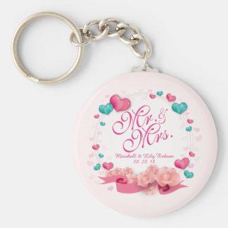 Elegant Mr. & Mrs. Candy Hearts Keychain