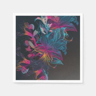 Elegant Multi-color Floral Design Sketch | Napkin Paper Napkin