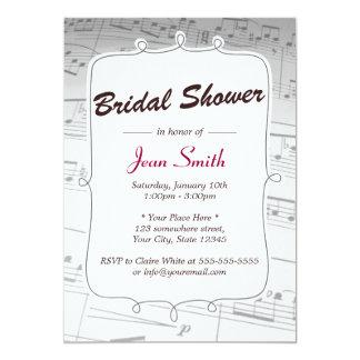 Elegant Music Notes Bridal Shower Invitation