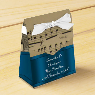 Elegant music sheet and blue wedding favour box
