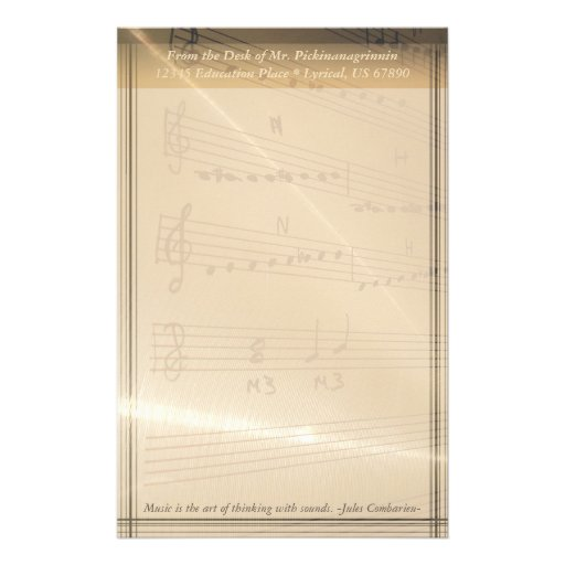Elegant Music Teacher Haydn Quote Personalized Stationery