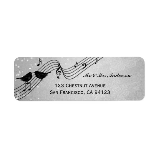 Elegant Music Theme Wedding Return Address Label