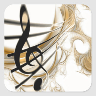 Elegant Musical Note Square Sticker