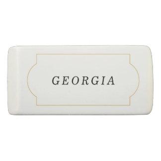 Elegant Name in Gold Frame Eraser