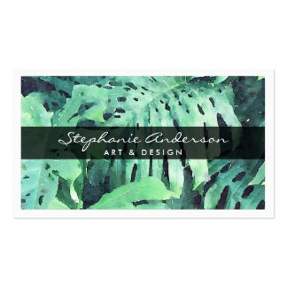 Elegant Name on Painted Palm Leaves Business Card