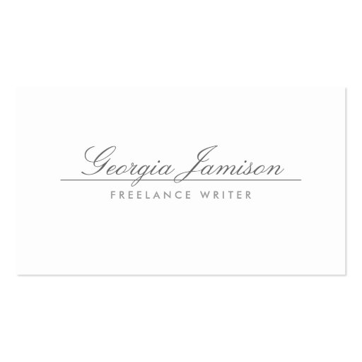 ELEGANT NAME on WHITE Designer Business Card