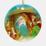 Elegant Nativity scene, Mary Jesus Joseph Round Ceramic Decoration