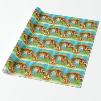 Elegant Nativity scene, Mary Jesus Joseph Wrapping Paper