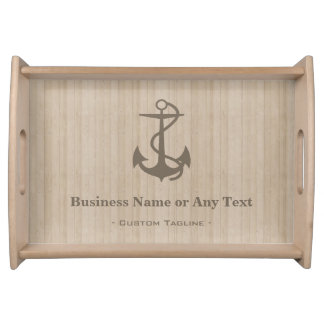 Elegant Nautical Anchor on Wood with Custom Text Serving Tray