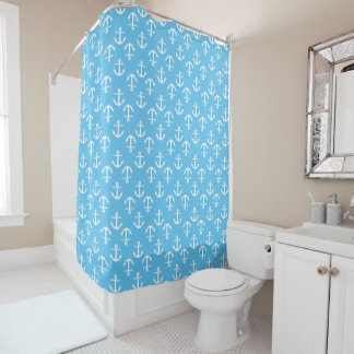 Elegant Nautical Anchor Pattern light Blue Shower Curtain