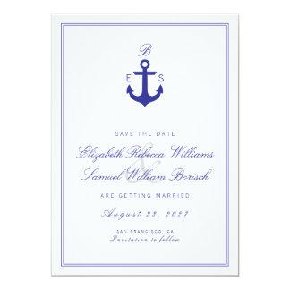 Elegant Nautical Clean Monogram Save The Date Card 13 Cm X 18 Cm Invitation Card
