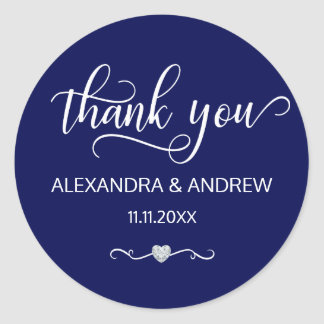 Elegant Nautical Navy Blue Wedding Thank You Classic Round Sticker