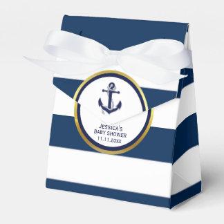 Elegant Nautical Navy Blue White Baby Shower Gift Favour Box