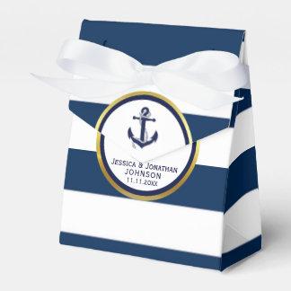 Elegant Nautical Navy Blue White Wedding Gift Favour Box
