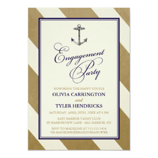 "Elegant Nautical Navy & Gold Engagement Party 5"" X 7"" Invitation Card"