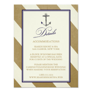 "Elegant Nautical Navy & Gold Wedding Details Cards 4.25"" X 5.5"" Invitation Card"