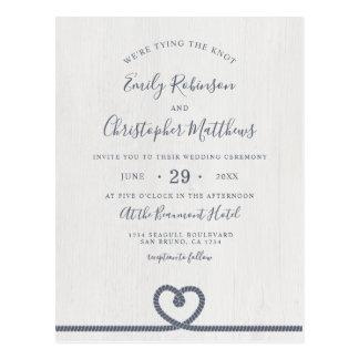 Elegant Nautical Tying The Knot Wedding Invitation Postcard