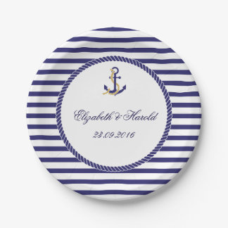 Elegant Nautical Wedding Navy Stripes 7 Inch Paper Plate