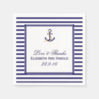 Elegant Nautical Wedding Navy Stripes Paper Napkins