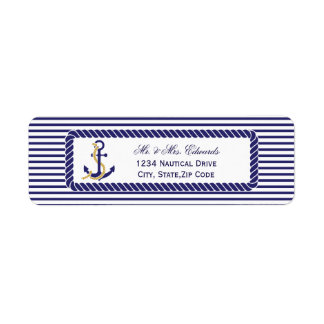 Elegant Nautical Wedding Navy Stripes Return Address Label