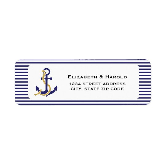 Elegant Nautical Wedding Return Address Label