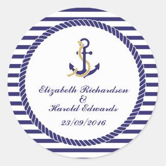 Elegant Nautical Wedding Round Sticker