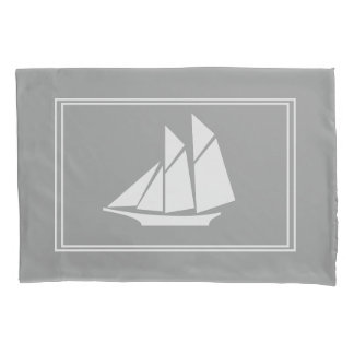 Elegant Nautical White Sailboat Silhouette Pillowcase