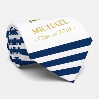 Elegant navy and gold personalised graduation tie
