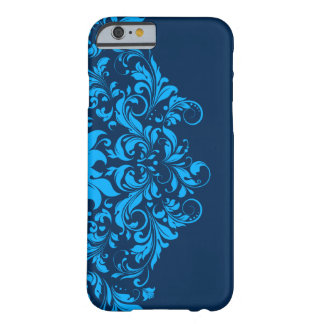 Elegant Navy And Sky Blue Floral Lace Barely There iPhone 6 Case