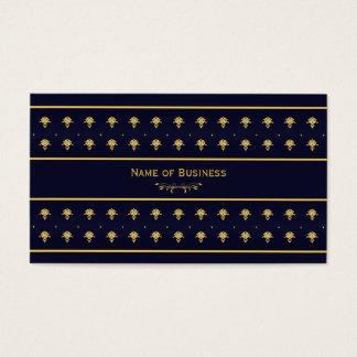 Elegant Navy Blue And Gold Damask Business Card