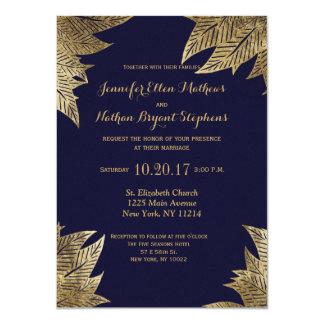 Elegant Navy Blue and Gold Faux Drawn Leaf Pattern 11 Cm X 16 Cm Invitation Card