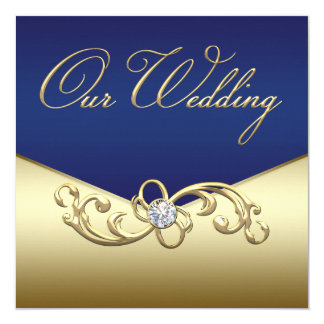 Elegant Navy Blue and Gold Wedding Card