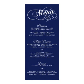 Elegant Navy Blue And White Wedding Menu Templates Customized Rack Card