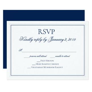 Elegant Navy Blue and White Wedding RSVP Card
