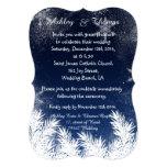 Elegant Navy Blue Branch Snowflake Winter Wedding 13 Cm X 18 Cm Invitation Card