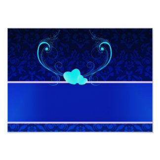 Elegant navy blue damask wedding gift posters