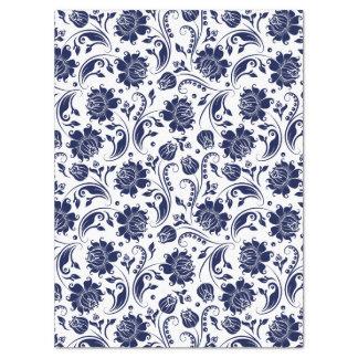 Elegant Navy Blue Floral Damasks White Background Tissue Paper